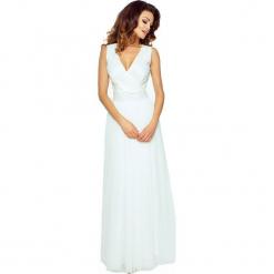 Ecru Elegancka Maxi Sukienka z Koronkową Górą. Białe długie sukienki Molly.pl, xxl, w koronkowe wzory, z koronki, eleganckie, z kopertowym dekoltem, bez rękawów, kopertowe. Za 349,90 zł.