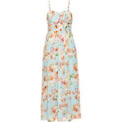 Długie sukienki: Długa sukienka szyfonowa bonprix lodowy miętowy w kwiaty