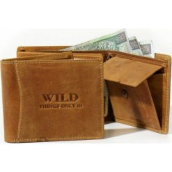 Portfel męski Wild - skóra naturalna Cognac Nowość!. Brązowe portfele męskie Wild, ze skóry. Za 66,90 zł.