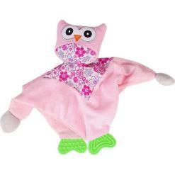 Różowa przytulanka z sówką i gryzakiem (B11.016.1.1). Czerwone przytulanki i maskotki marki Sun Baby. Za 18,90 zł.