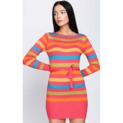 Koralowa Sukienka Never See. Pomarańczowe sukienki dzianinowe Born2be, l, oversize. Za 39,99 zł.