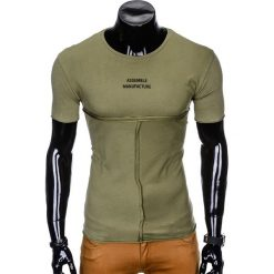 T-shirty męskie: T-SHIRT MĘSKI Z NADRUKIEM S958 - KHAKI