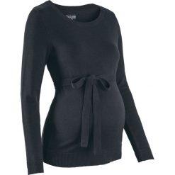 Sweter ciążowy z 100% bawełny, z wiązanym paskiem bonprix czarny. Czarne swetry klasyczne damskie bonprix, z bawełny, moda ciążowa. Za 74,99 zł.
