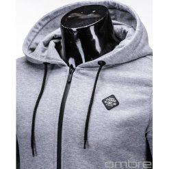 BLUZA MĘSKA ROZPINANA Z KAPTUREM B554 - SZARA. Szare bluzy męskie rozpinane marki Ombre Clothing, m, z bawełny, z kapturem. Za 49,00 zł.
