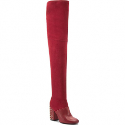 Muszkieterki CARINII - B4455  J63-L92-000-C00. Czerwone buty zimowe damskie Carinii, z materiału, przed kolano, na wysokim obcasie, na obcasie. W wyprzedaży za 319,00 zł.