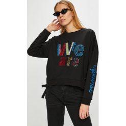 Desigual - Bluza. Czarne bluzy z nadrukiem damskie marki Desigual, l, z bawełny, bez kaptura. W wyprzedaży za 299,90 zł.
