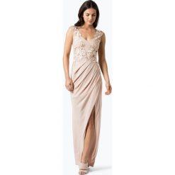 Lipsy - Damska sukienka wieczorowa, beżowy. Brązowe sukienki koktajlowe marki Lipsy, w koronkowe wzory, z koronki. Za 599,95 zł.