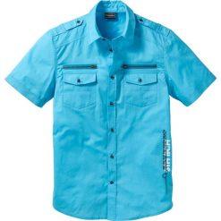 Koszula z krótkim rękawem Slim Fit bonprix turkusowy. Białe koszule męskie na spinki marki bonprix, z klasycznym kołnierzykiem, z długim rękawem. Za 74,99 zł.