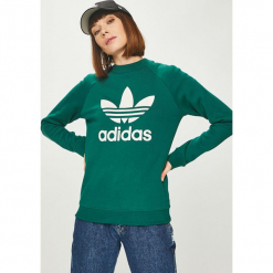 Adidas Originals - Bluza. Szare bluzy z nadrukiem damskie marki adidas Originals, na co dzień, z bawełny, casualowe, z okrągłym kołnierzem, proste. Za 249,90 zł.