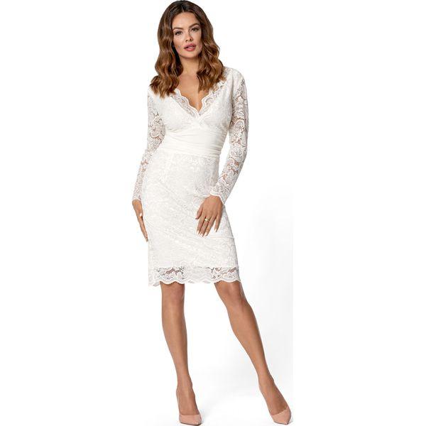 4b312884 Elegancka Kremowa Dopasowana Sukienka Koronkowa z Dekoltem V
