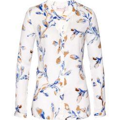 Bluzki damskie: Bluzka bonprix biel wełny - niebiesko-sezamowy z nadrukiem