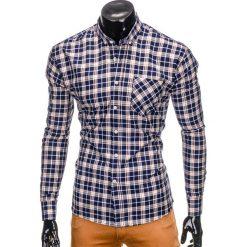 KOSZULA MĘSKA W KRATĘ Z DŁUGIM RĘKAWEM K396 - GRANATOWY/BRĄZOWY. Czarne koszule męskie na spinki marki Ombre Clothing, m, z bawełny, z kapturem. Za 49,00 zł.