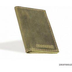 Portfele męskie: Skórzany męski oliwkowy cienki portfel