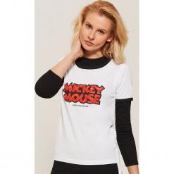 T-shirt Mickey Mouse - Biały. Białe t-shirty damskie marki House, l, z motywem z bajki. Za 39,99 zł.