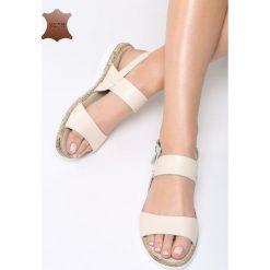 Beżowe Skórzane Sandały Escape Gravity. Brązowe sandały damskie marki Born2be, z materiału, na obcasie. Za 99,99 zł.