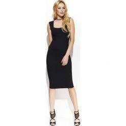 Czarna Elegancka Ołówkowa Midi Sukienka z Przeszyciami. Niebieskie sukienki balowe marki bonprix, z nadrukiem, na ramiączkach. Za 123,90 zł.