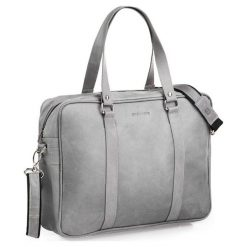 Skórzana męska torba na ramię szara. Szare torby na ramię męskie marki Brødrene, ze skóry. Za 350,00 zł.