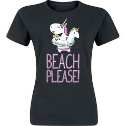 Beach Please Koszulka damska czarny. Czarne bluzki damskie Beach Please, xxl, z nadrukiem, z okrągłym kołnierzem. Za 32,90 zł.