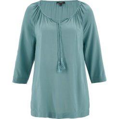 Bluzki damskie: Bluzka z dekoltem carmen, rękawy 3/4 bonprix niebieski mineralny