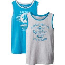 Koszulka bez rękawów (2 szt.) bonprix turkusowy + naturalny melanż. Niebieskie bluzki dziewczęce z nadrukiem marki PARADISE, na lato, z bawełny, z krótkim rękawem. Za 35,98 zł.