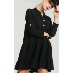 Czarna Sukienka Gentle. Czarne sukienki hiszpanki other, uniwersalny, z koszulowym kołnierzykiem, koszulowe. Za 64,99 zł.