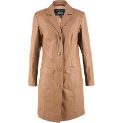 Płaszcz ze sztucznej skóry bonprix koniakowy. Brązowe płaszcze damskie bonprix, ze skóry. Za 239,99 zł.