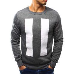 Bluzy męskie: Bluza męska bez kaptura z nadrukiem antracytowa (bx3068)