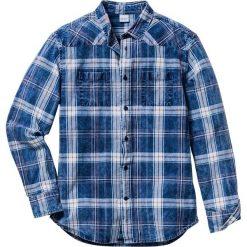 Koszula z długim rękawem Regular Fit bonprix biało-niebieski dżins w kratę. Białe koszule męskie na spinki bonprix, l, z długim rękawem. Za 99,99 zł.