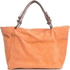 Torebki i plecaki damskie: Skórzany shopper bag w kolorze pomarańczowym – 42 x 40 x 20 cm