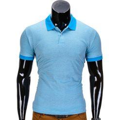 KOSZULKA MĘSKA POLO BEZ NADRUKU S847 - BŁĘKITNA. Czarne koszulki polo marki Ombre Clothing, m, z bawełny, z kapturem. Za 35,00 zł.