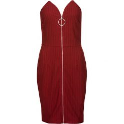 Sukienka z zamkiem z przodu bonprix czerwono-czarny. Czerwone sukienki balowe bonprix, z żakardem. Za 79,99 zł.