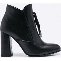CheBello - Botki. Czarne buty zimowe damskie CheBello, z materiału, na obcasie. W wyprzedaży za 199,90 zł.