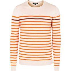 Swetry klasyczne męskie: Sweter w kolorze biało-pomarańczowym