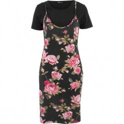 Sukienka 2 w 1 bonprix czarny w kwiaty. Czarne sukienki marki bonprix, w kwiaty. Za 49,99 zł.