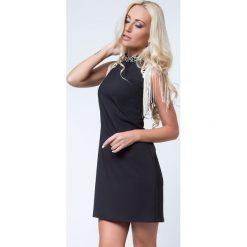 Sukienki hiszpanki: Sukienka ze złotymi detalami czarno-złota i frędzlami ALZ3131