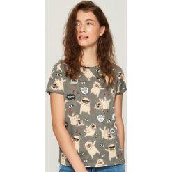 T-shirty damskie: T-shirt z nadrukiem w tańczące buldożki - Szary