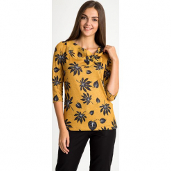 Musztardowa bluzka z wiązanym dekoltem QUIOSQUE. Czarne bluzki longsleeves marki QUIOSQUE, z dzianiny, biznesowe. W wyprzedaży za 89,99 zł.