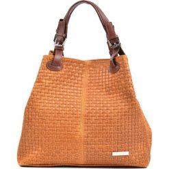 Torebki klasyczne damskie: Skórzana torebka w kolorze koniaku – (S)36 x (W)30 x (G)17 cm