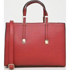 Answear - Torebka. Brązowe torebki klasyczne damskie ANSWEAR, w paski, z materiału, średnie. W wyprzedaży za 99,90 zł.