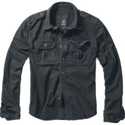 Brandit Vintage Shirt Koszula czarny. Białe koszule męskie na spinki marki Brandit, l, z aplikacjami, z bawełny, z długim rękawem. Za 144,90 zł.