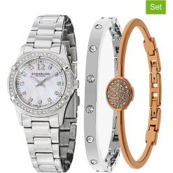 Bransoletki damskie: 3-częściowy zestaw zegarek i bransoletka w kolorze srebrno-różowozłotym