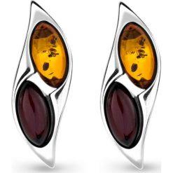 Biżuteria i zegarki: Srebrne Kolczyki – srebro 925, Bursztyn