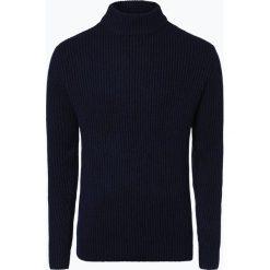 Swetry męskie: Nils Sundström – Męski sweter z wełny merino, niebieski