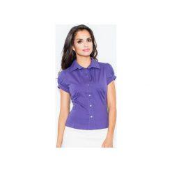 Koszula M026 Indygo. Niebieskie koszule wiązane damskie FIGL, m, z bawełny, klasyczne, z klasycznym kołnierzykiem, z krótkim rękawem. Za 73,00 zł.