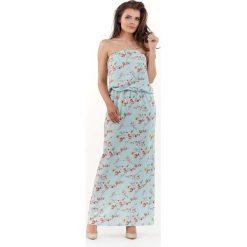 Niebieska Długa Sukienka w Kwiatki z Odkrytymi Ramionami. Niebieskie długie sukienki marki Molly.pl, l, w kwiaty, z tkaniny, z długim rękawem, proste. Za 128,90 zł.