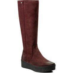 Kozaki EVA MINGE - Felipa 2W 17SM1372229EF 434. Czerwone buty zimowe damskie Eva Minge, z nubiku, przed kolano, na wysokim obcasie. W wyprzedaży za 319,00 zł.