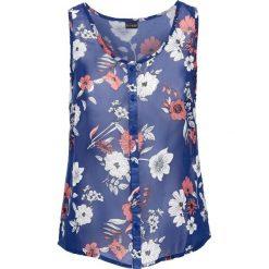 Top szyfonowy bonprix niebieski Chagall w kwiaty. Niebieskie topy damskie bonprix, w kwiaty, z szyfonu. Za 37,99 zł.