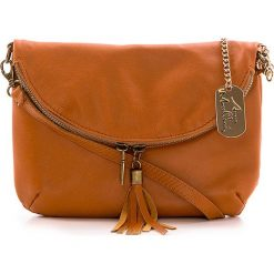 Torebki klasyczne damskie: Skórzana torebka w kolorze jasnobrązowym – 22 x 18 x 2 cm
