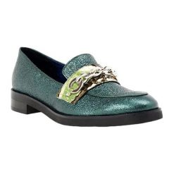 Mokasyny damskie: Skórzane mokasyny w kolorze zielonym