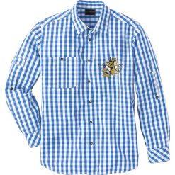 Koszula ludowa Regular Fit bonprix niebieski lodowy - biały w kratę. Białe koszule męskie marki bonprix, z klasycznym kołnierzykiem, z długim rękawem. Za 89,99 zł.